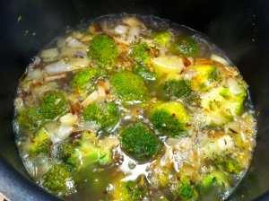 con caldo de verduras