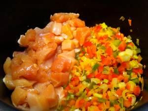 verduras y pollo