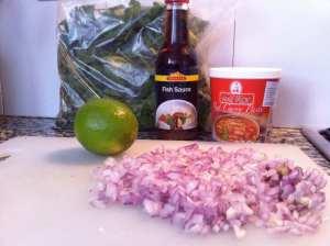 salsa de pescado, lima, pasta de curry