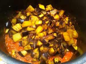 verduras con la salsa