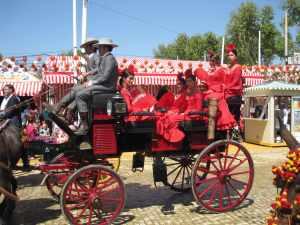coche flamencas de rojo