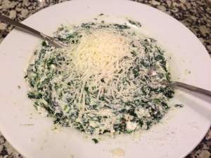 mezcla de espinacas ricota y parmesano