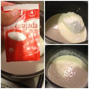 cuajada con queso nata leche y azucar