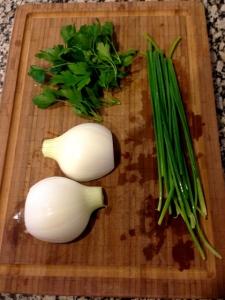 perejil, cebolleta y cebollino