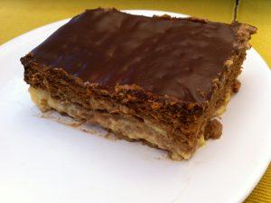 Tarta de flan, galleta y chocolate