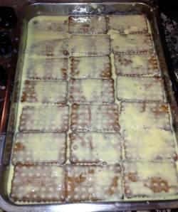 tarta de galletas y flan enfriando