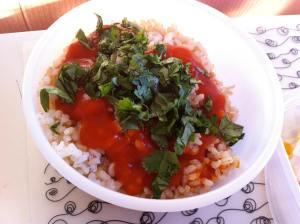 arroz con tomate y cilantro