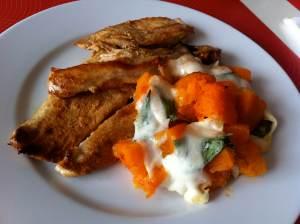 filetes de pavo y calabaza gratinada