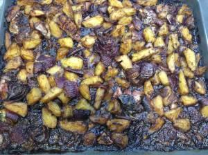 patatas y cebollas al balsamico