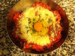 carne picada huevo