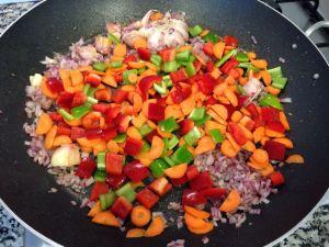 zanahoria y pimientos