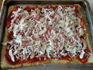 pizza champinones y bacon