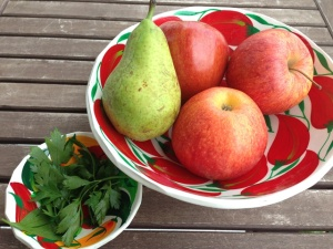 manzana pera perejil