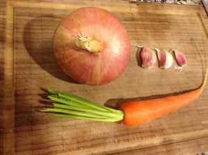 zanahoria cebolla ajo