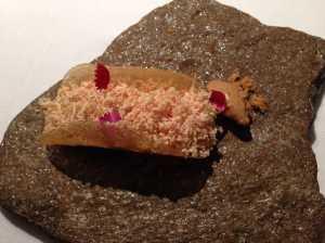 taco de maiz y foie gras