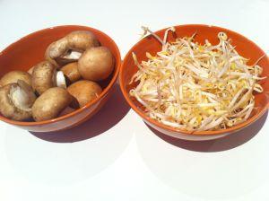 champiñones y soja
