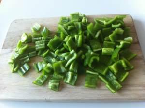 pimientos verdes troceados