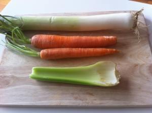 puerro apio zanahorias
