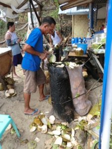 preparando cocos